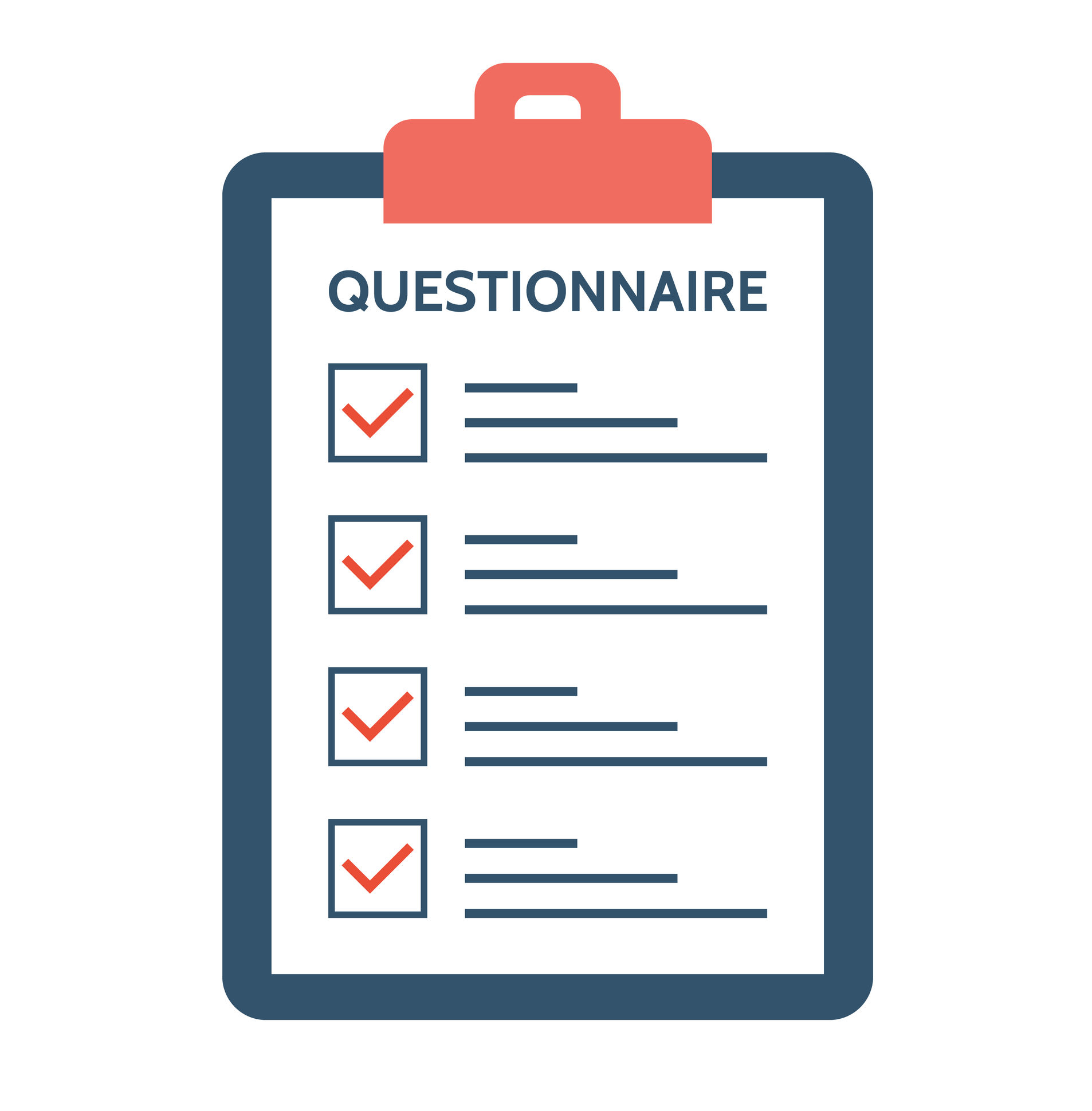 Questionnaire, survey and report on a clipboard paper. Feedback concept. Checklist with tick marks in flat style. Application form for employment. Resume for a job. Vector illustration.