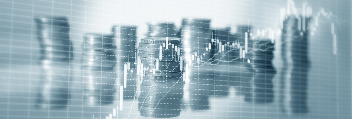 Coins stock charts. Stock market trading graph and candlestick chart. Financial investment concept. Website header banner